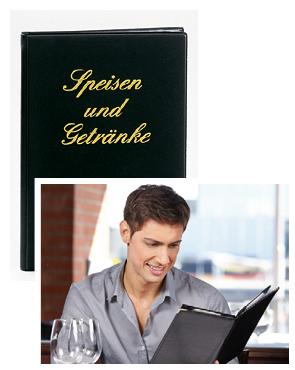 Bild: Abbildung Speisekarte klassisch und Mann beim Lesen einer Speisekarte
